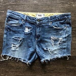 PAIGE cut off destroyed denim shorts